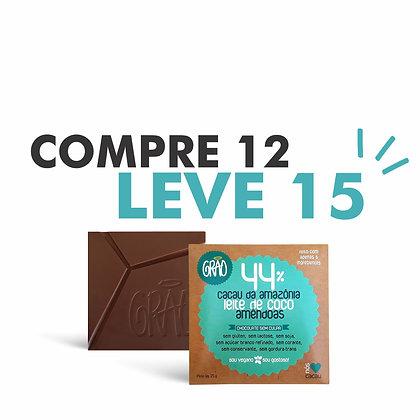 COMPRE 12, LEVE 15 Chocolates 44% Cacau, Leite de Coco, Amêndoas e Demerara.