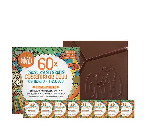 KIT 08x Chocolates 60% com Castanha de Caju e Blend de Mascavo + Demerara.