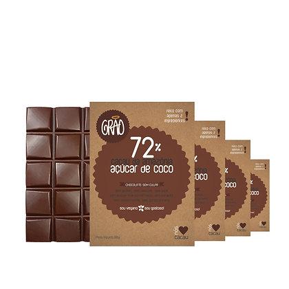 KIT 04x Chocolates 72% Cacau da Amazônia e Açúcar de Coco.