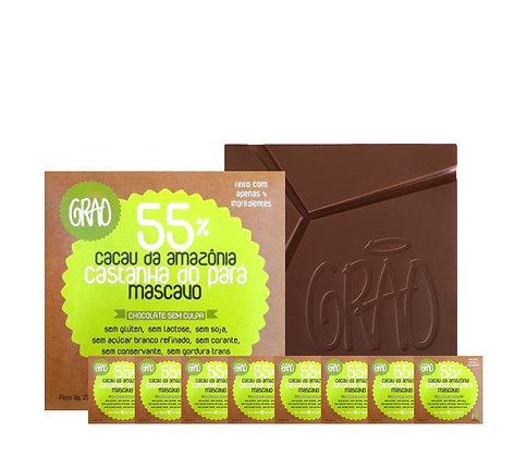 KIT 08x Chocolates 55% Cacau da Amazônia, Castanha do Pará e Açúcar Mascavo.