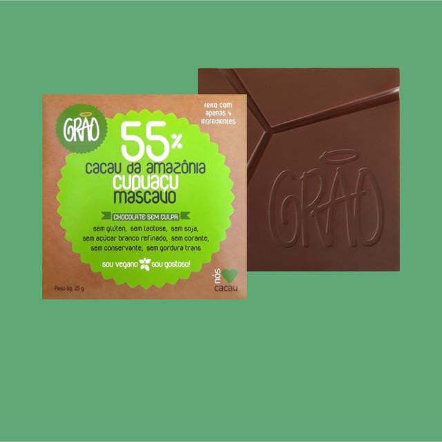 CHOCOLATE 55% CACAU DA AMAZÔNIA, CUPUAÇU E AÇÚCAR MASCAVO.