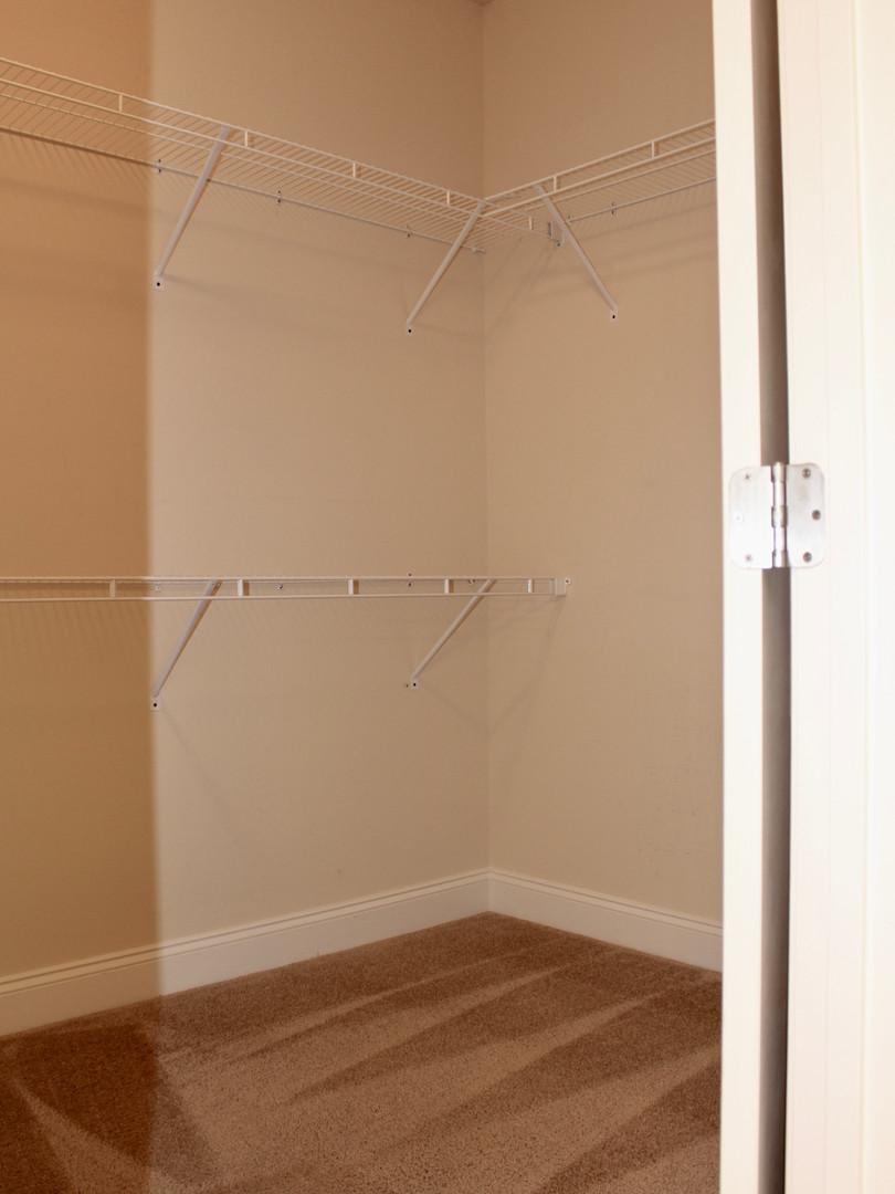 Large walk-in closet just off bathroom