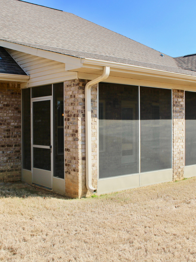 Screened-in porch was added