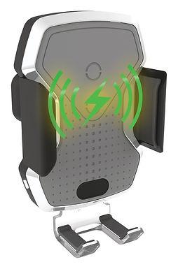 Držák telefonu LUKE-X bezdrátové nabíjení 10W silver - COMPASS