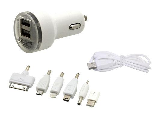 Nabíječka telefonu 12V 2,1A (Iphone 4-8, miniUSB, microUSB, USB-C) - COMPASS