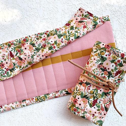 24 Crochet Garden Rose Lino - rosa/mostaza