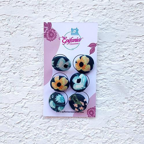 Botones Forrados en Tela - Flores Vintage Verde