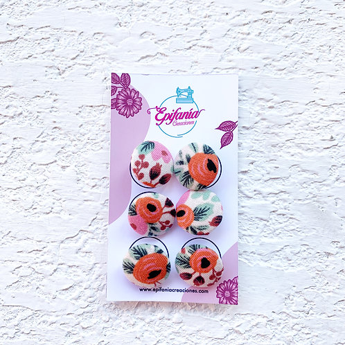 Botones Forrados en Tela - Petite Garden Pink