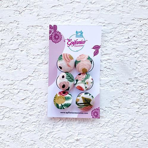 Botones Forrados en Tela - Garden Rose