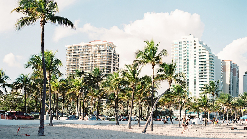 Miami beach with hotels in the background