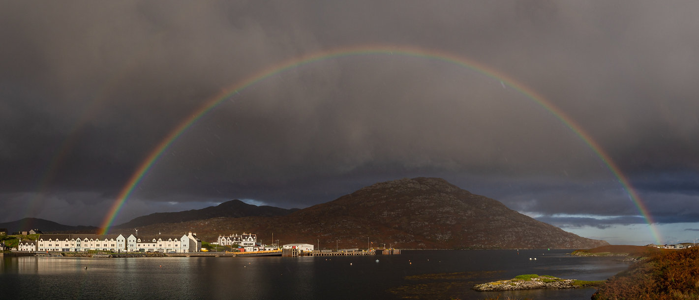 Lochboisdale and Ben Kenneth in a massive rainbow