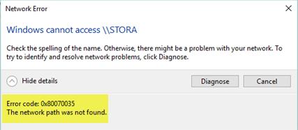 Error  The network path was not found שערד דרייוו