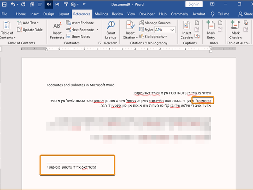 Footnotes and Endnotes in Microsoft Word