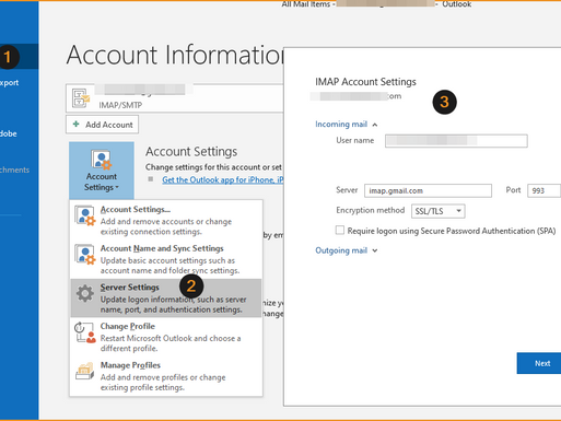 email server's IMAP and SMTP information