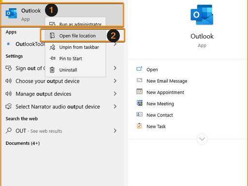 configure Outlook to run on startup