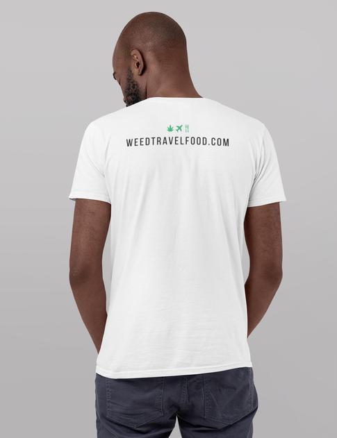 WeedTravelFood T-Shirt (Back) (White)