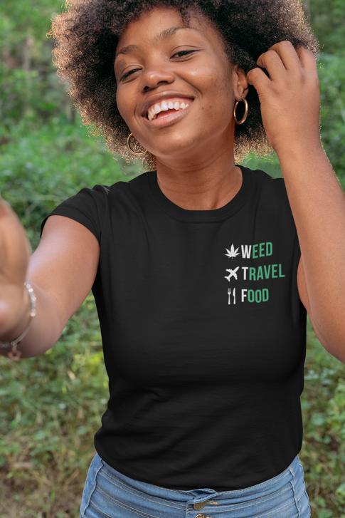 WeedTravelFood Ladies Fitted T-Shirt (Black)