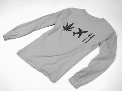 WeedTravelFood Icon Trio Long Sleeve (Grey)