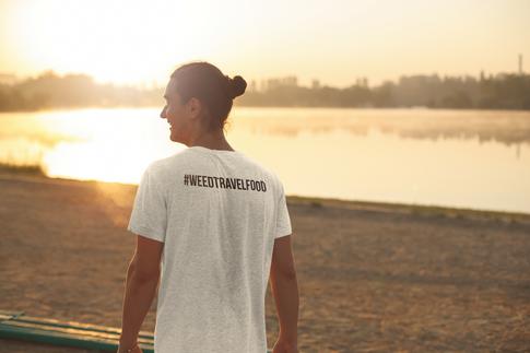 WeedTravelFood Icon Trio T-Shirt (Back) (Grey)