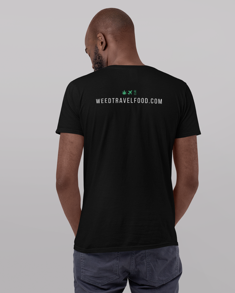 WeedTravelFood T-Shirt (Back) (Grey)