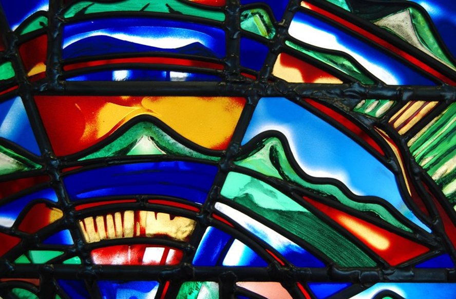 Detail of one of two rose windows made for the New Chapel at Kings College Auckland