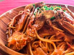 わたりガニのトマトクームスパゲッティ