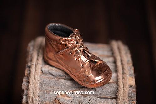 Chaussure bébé métallisée Finition cuivre jusqu'au 25