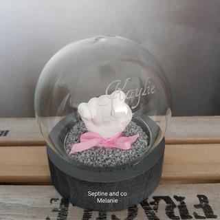empreinte 3D bébé cadeau boule en  verre septine and co France moulage 3D