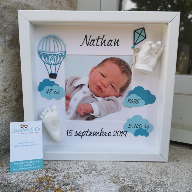 cadre de naissance empreinte bébé septine and co France moulage 3D