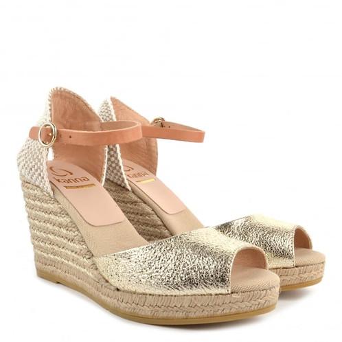 cf4f9964378 KANNA Evita Gold Wedge Espadrille Sandal - Size 39