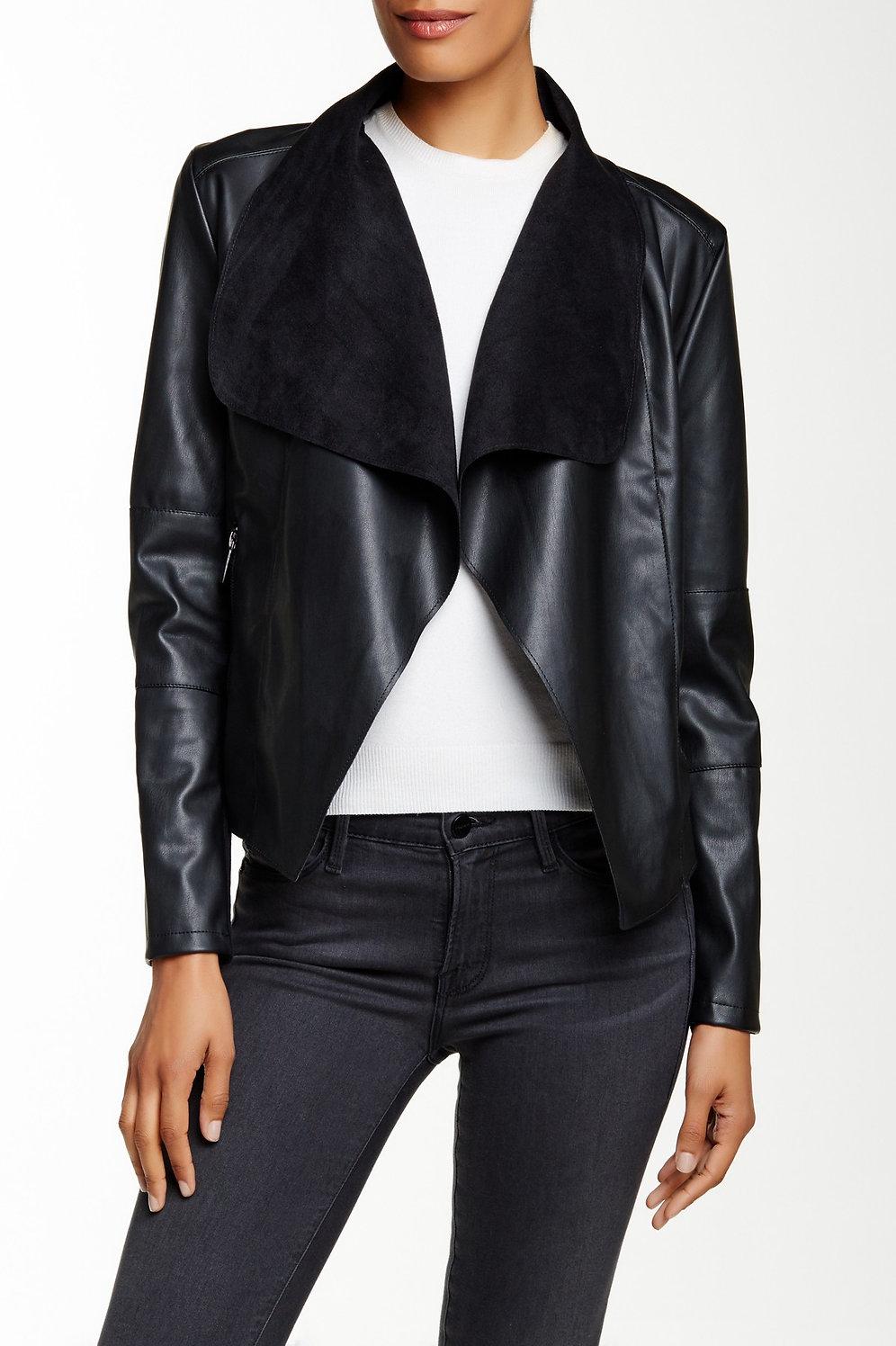 47759d513 Bagatelle Faux Leather Drape Jacket- Size Large