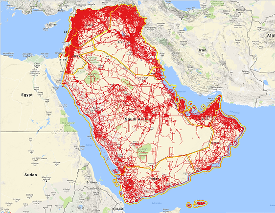 Middle East Data Coverage, OSM