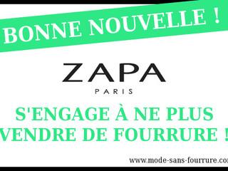 La marque ZAPA bascule dans la liste vertesans fourrure!