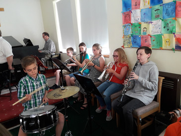 Our young musicians playing in the service