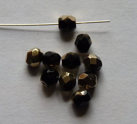 Glass Faceted Round Beads - Black with Gold Hint