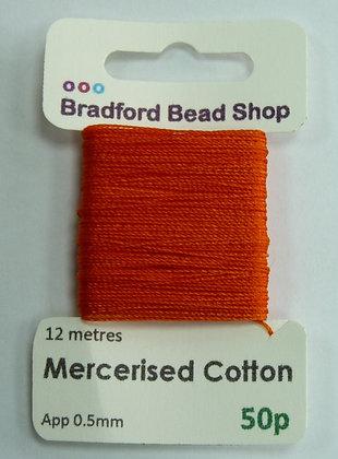Mercerised Cotton Thread - App. 0.5mm x 12 metres - Orange