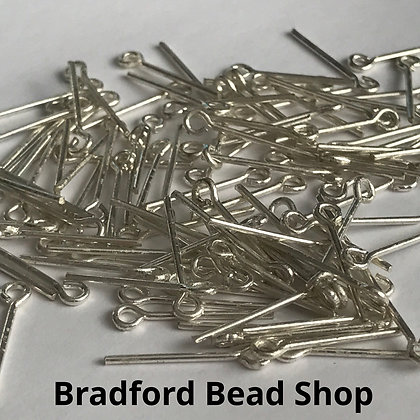 Eye Pins - Silver Plated - 15mm x 0.8mm