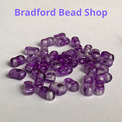 2 Hole Glass 'Oval Brick' Beads - Purple Translucent - 3mm x 5.5mm