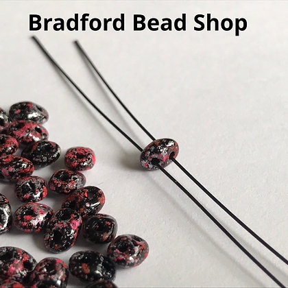 Matubo Glass Superduo Beads - Pink Tweed Marble Opaque - 2.5mm x 5mm
