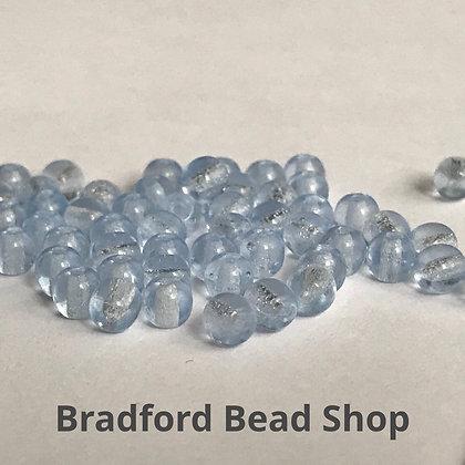 Glass Round Beads - Light Blue Translucent - 4mm