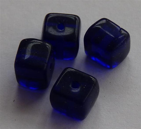 Glass Bead - Cubed Dark Blue