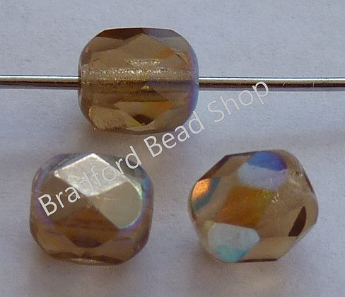 Glass Faceted Round Beads - Light Topaz AB