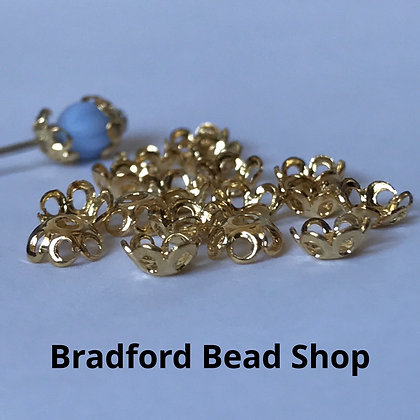 Bead End Cup (Plain) - 5mm - Gold Plated