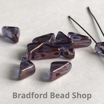 Glass 2 Hole Tango Beads - Purple Translucent - 6mm