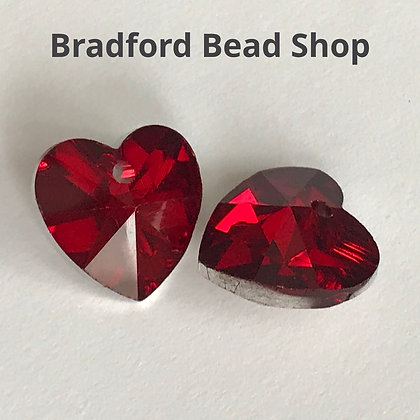Crystal Heart - Red with Silver Back - 14mm