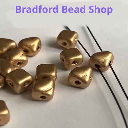 Glass 2 Hole Diamond Beads - Gold Opaque Matte - 5mm