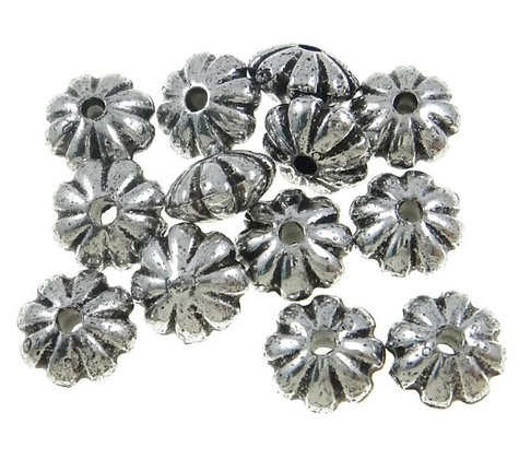 Acrylic Beads - Flower - 4x8mm (hole 1.5mm) - Antique Silver