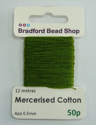 Mercerised Cotton Thread - App. 0.5mm x 12 metres -Grassy Green