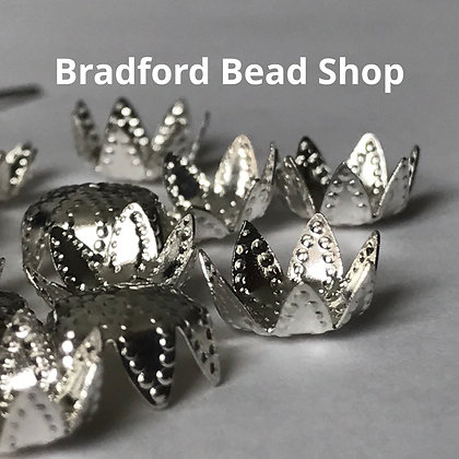 Bead End Cup (Patterned) - 10mm - Silver Plated