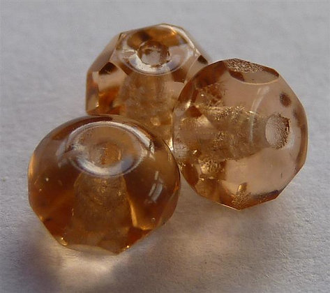 Glass Faceted Doughnut Beads - Peach Translucent